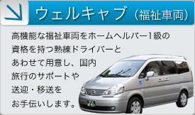 Welcab (Welfare Vehicle): Highly functional welfare vehicles for persons with special needs and elderly people accompanied by experienced drivers who are qualified Level 1 caregivers are available to support travel in Japan or assist with transportation and transfer.